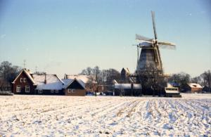 Molen de Ster in winters landschap 1985